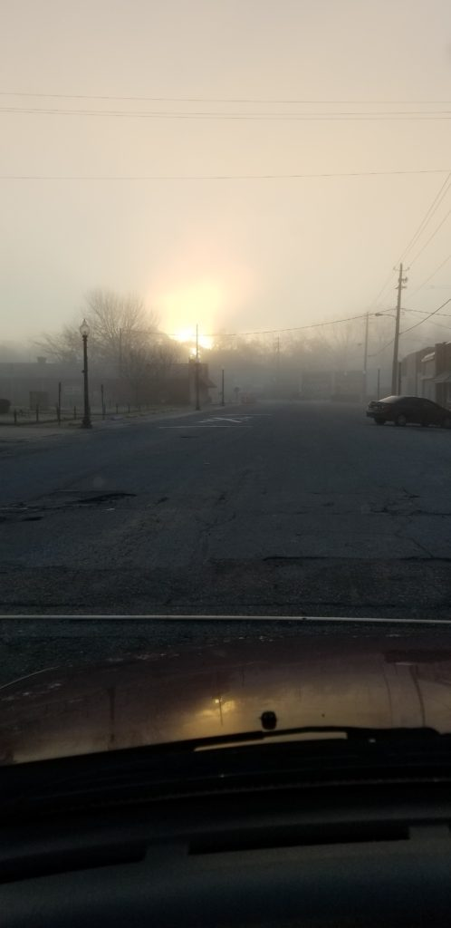 69ac22b1 Photos by Isaac Vaughn The sun coming up through the fog over the town of  Moundville Wednesday, Jan. 16. Photo by Marty Wheat
