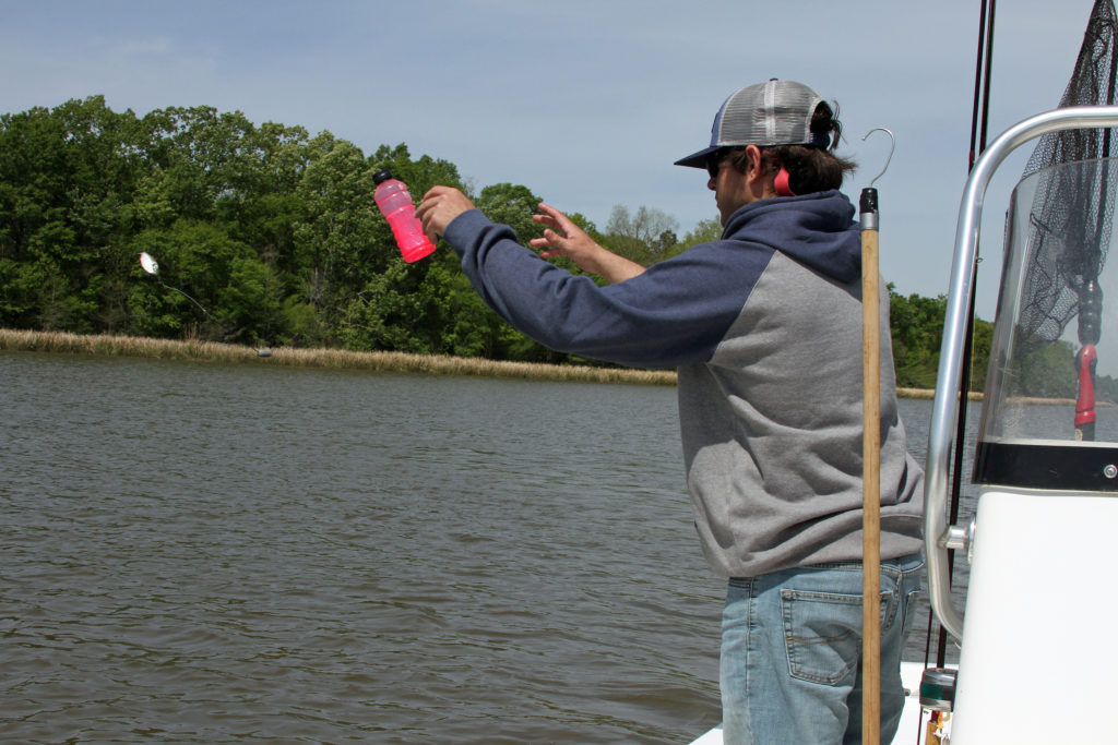 24750b71 Hayden tosses out a jug baited with a small shad. The morning trip yielded  an ice chest filled with blue and channel catfish.